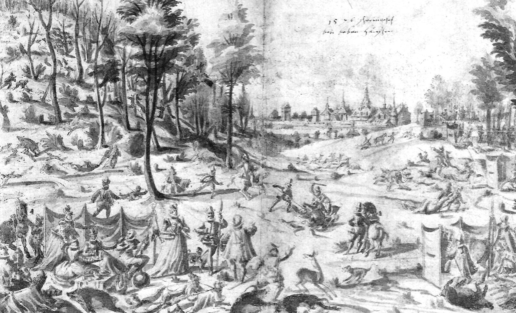 Wildschweinjagd bei Bebenhausen, Federzeichnung laviert, 1576; Foto: Wikipedia gemeinfrei