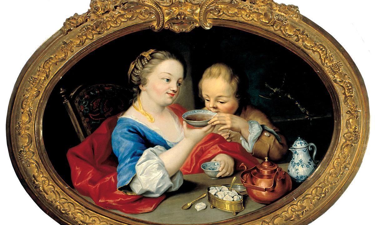 """Das Gemälde """"Die Teetrinker"""" in Schloss Favorite Rastatt; Foto: Staatliche Schlösser und Gärten Baden-Württemberg, Urheber unbekannt"""