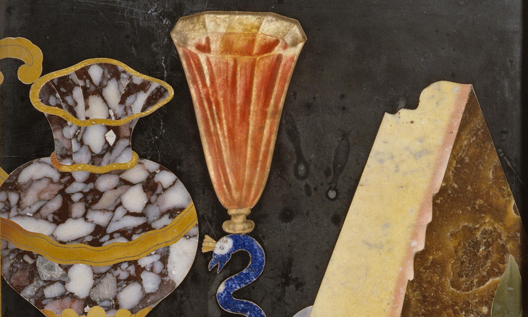 Ausschnitt aus einer Pietra-Dura-Tafel im Florentiner Kabinett von Schloss Favorite Rastatt; Foto: Staatliche Schlösser und Gärten Baden-Württemberg,, Andrea Rachele