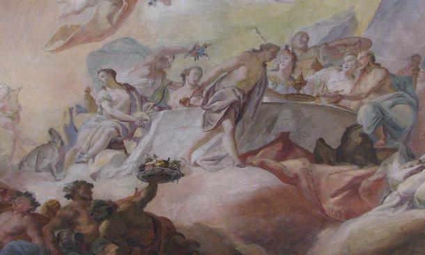 Deckenfresko im Tafelzimmer im Neuen Schloss Tettnang; Foto: Staatliche Schlösser und Gärten Baden-Württemberg, Katharina Dietz