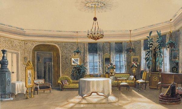 Der Saal im Turm mit seiner Ausstattung 1852