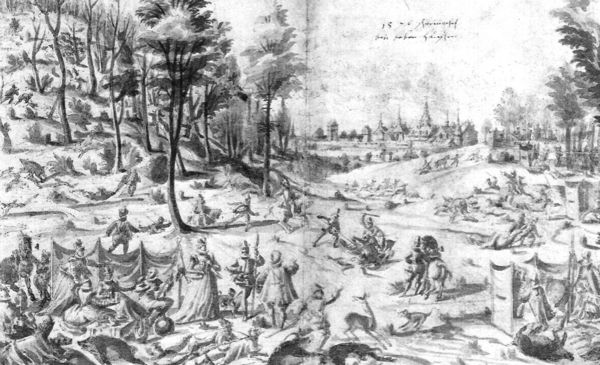 Wildschweinjagd bei Bebenhausen, Federzeichnung laviert, 1576